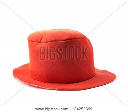 Red prop clown's hat isolated over the white background