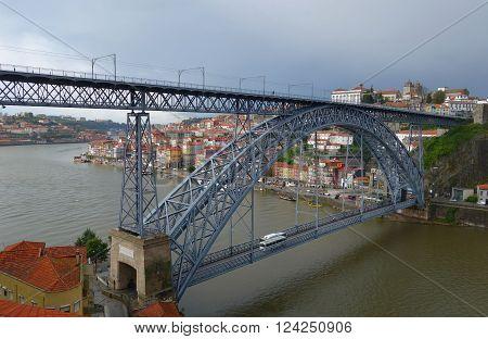 Bridge of Don Luis the I across the river Douro in Porto