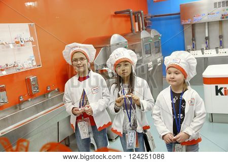 MOSCOW RUSSIA - MARCH 31 2016: Kidzania - a worldwide network of educational parks where children playfully get real jobs skills. For editorial use only.