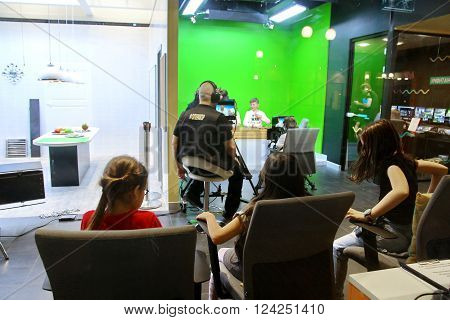 MOSCOW RUSSIA - MARCH 31 2016: Kidzania - a worldwide network of educational parks where children playfully get real jobs skills.