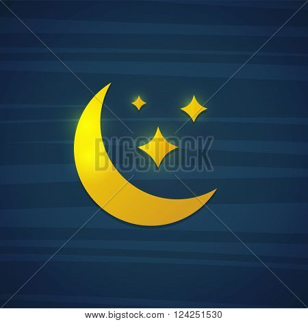 Design Template banner, poster, postcards, cards with the moon and stars. Yellow moon and stars in a cartoon style on a dark blue background. The poster with the night of the moon and stars. Vector illustration