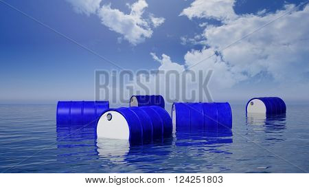 3D blue  oil drums floating on sea surface, with blue sky, 3d rendering