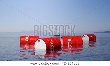3D red oil drums floating on sea surface, with blue sky and sailing boat in background, 3d rendering