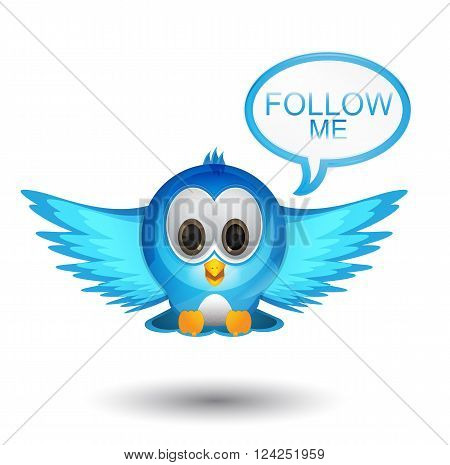 follow me text with blue bird character
