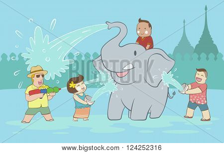 Songkran festival with elephant and happy people and tourist throwing water to each other on blue wall and pagoda background
