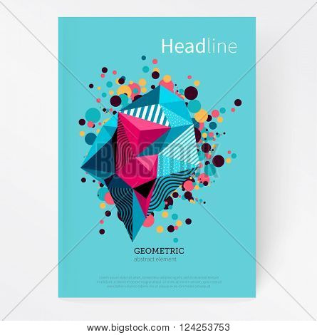 Cover template. Flat style Abstract geometric polygonal design element. Geometric crystal multicolored splash stock-vector EPS 10