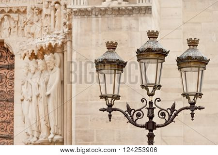 Street light pole seen near Notre Dame Cathedral in Paris, France