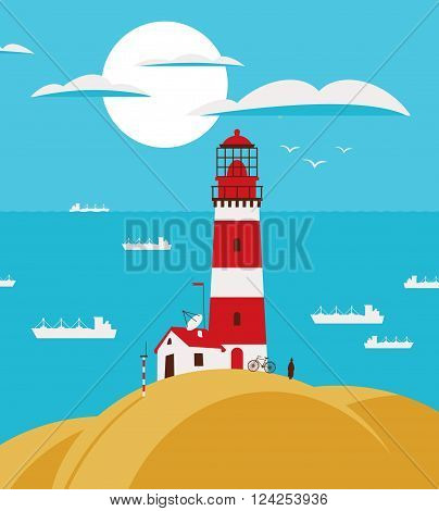 seascape with lighthouse on the hill and ships