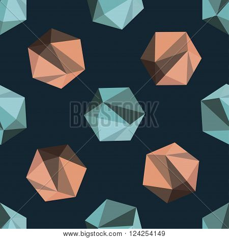 Vector abstract seamless pattern with green and orange polyhedrons on dark blue background