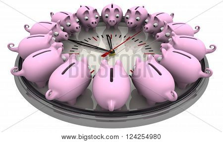 Time is money. Piggy banks located around the analog clock on a white surface. Financial concept. 3D Illustration. Isolated
