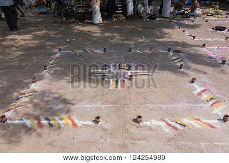 Trichy India - October 15 2013: One Mandala is waiting for customers devotees to have a rite performed for them in the square at Amma Mandapam.