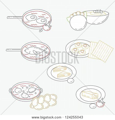 Vector illustration of line Israeli culture food icons with flat design.