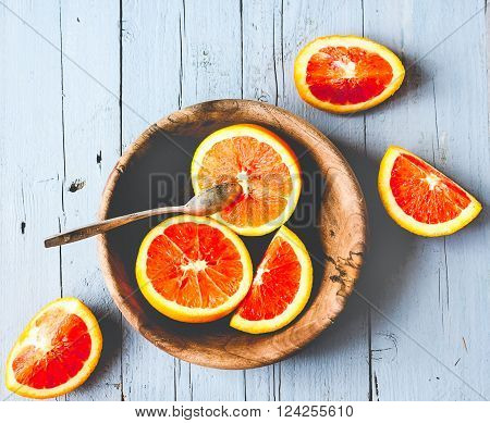 Sicilian Red Oranges Slices In A Wooden Plate, Healthy Snack