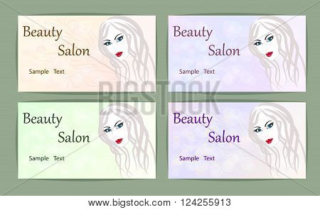 Set template logo for beauty salon stylized profile of a young beautiful woman. business card . Abstract logo for a beauty salon portrait of a girl.Vector illustration. EPS 10