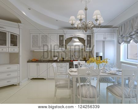 Classic kitchen design with dining table. 3d render