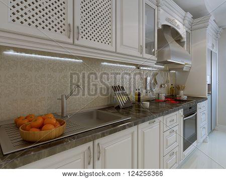 Classic kitchen interior, white kitchen. 3d render