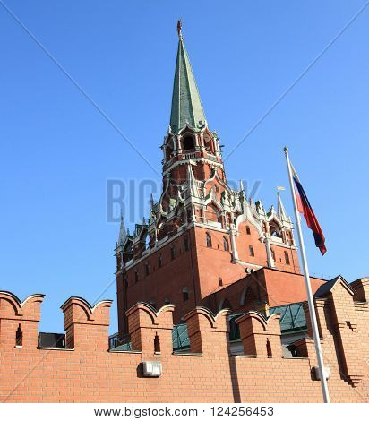 Kremlin tower on sky background at day