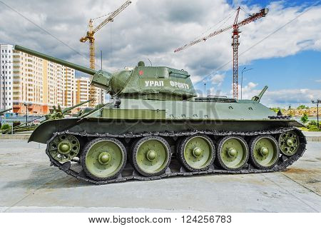 VERKHNYAYA PYSHMA RUSSIA - JUNE 11 2015: Soviet tank T-34/76- exhibit of the Museum of military equipment.
