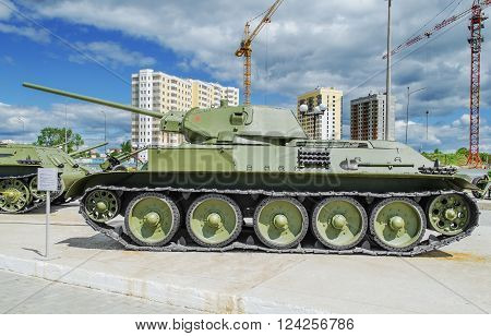 VERKHNYAYA PYSHMA RUSSIA - JUNE 11 2015: Soviet tank T-34/57 - exhibit of the Museum of military equipment.