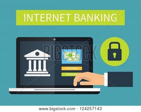 Internet banking online transaction. Flat vector illustration.