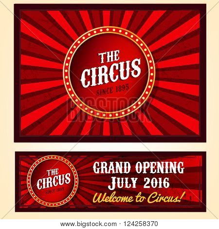 Vector vintage circus landscape backgrounds in bright red, yelow and white colors with illuminated elements. Editable retro illustration useful for a poster, banner, flyer, advertisement design
