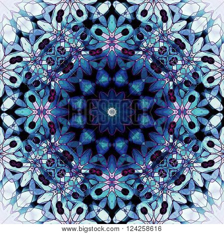 Abstract geometric seamless background. Ornate floral circle ornament in blue and turquoise shades and with elements in pink, violet, white and black, conspicuous and dreamy.