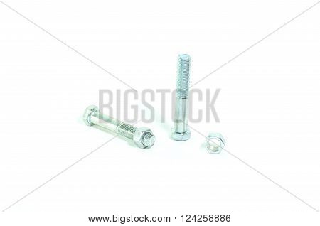 Hex head screw on a white background.