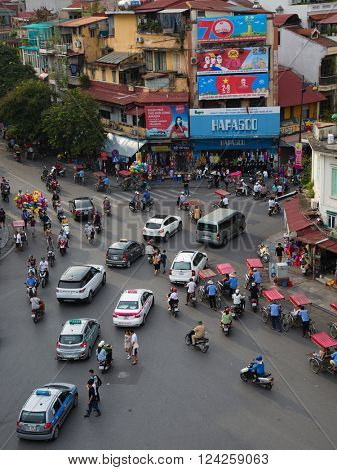 Hanoi, Vietnam - September 2, 2015: the central roundabout between Hoam Kiem Lake and the Old Quarter is a popular meeting point in Hanoi, Vietnam