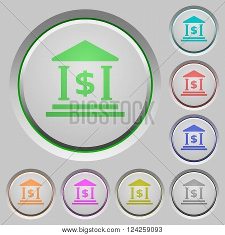 Set of color Dollar bank sunk push buttons.