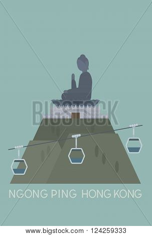 vector of Ngong Ping cable car and big Buddha, Hong Kong