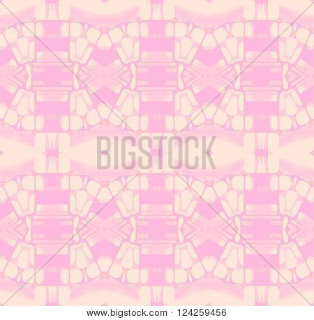 Abstract geometric seamless background. Delicate diamond pattern in beige, pink and violet shades.