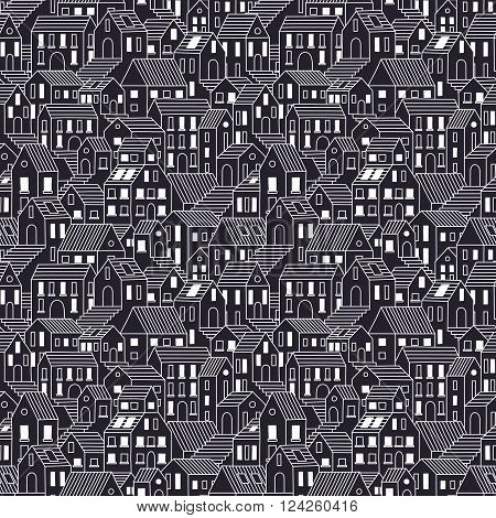 Hand drawn town at night. Seamless pattern with town houses. Vector background in one color.