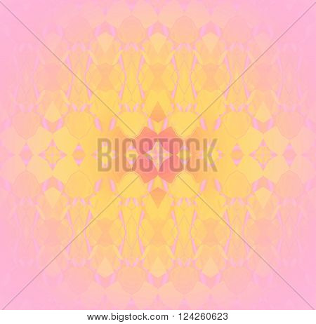 Abstract geometric seamless background. Delicate and dreamy ornament with elements in yellow, orange, pink and violet, centered and blurred.