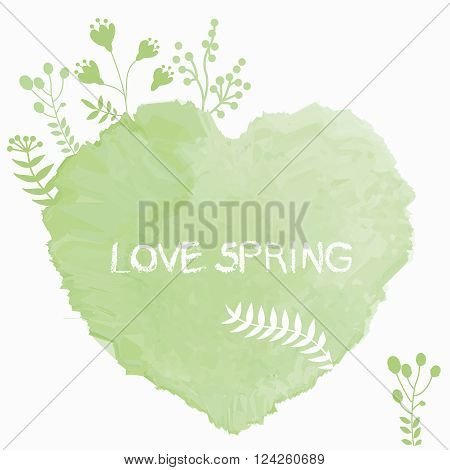 Vector green watercolor heart with plants growing on the top of it