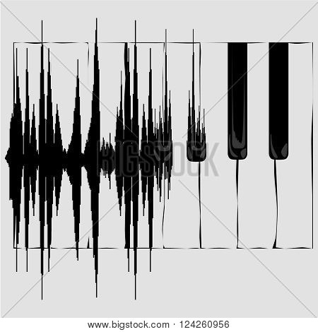 Sound wave transformation into Piano keyboard.  Concept background