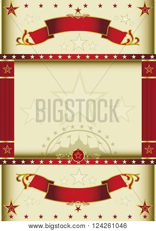 Poster cream circus with curtains. A cream color circus background with curtains