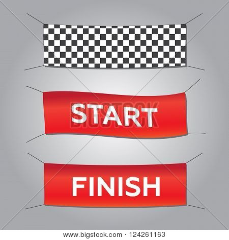 Start and finish textile banners vector set. Flag sport race competition finishing