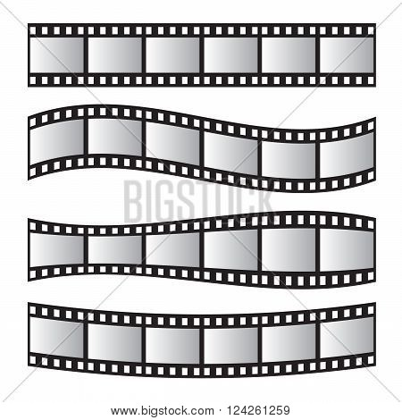 Film roll vector film 35mm slide film frame set. Negative and strip media filmstrip