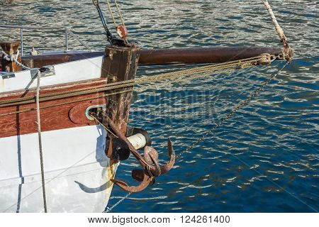 Tackle and anchor on the nose of an old sailing ship in the Bay of Los Gigantes. Tenerife.