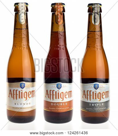 GRONINGEN, NETHERLANDS - APRIL 3, 2016: Belgian beers Affligem Blonde, Double and Triple isolated on white background
