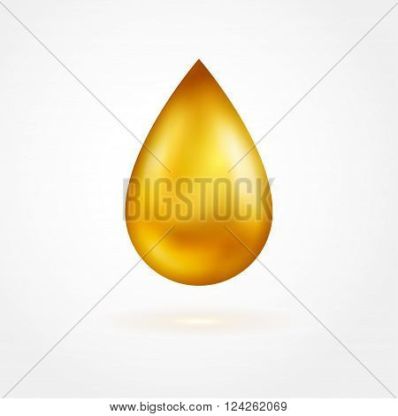Yellow drop of oil icon isolated on white background. Vector illustration. Golden shiny droplet, essence.