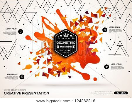 3D abstract background with paint stain and geometric triangles shapes. Vector design layout for business presentations, flyers, posters. Scientific future technology background.