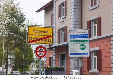 National Border Between Germany And Switzerland In Konstanz City