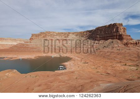 Houseboats along the shore of Lake Powell National Recreation Area in Utah