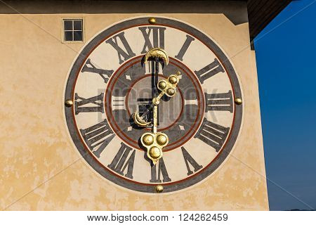 Detail Of The Clock Face Of Graz Clock Tower On The Schlossberg - Graz Styria Austria Europe