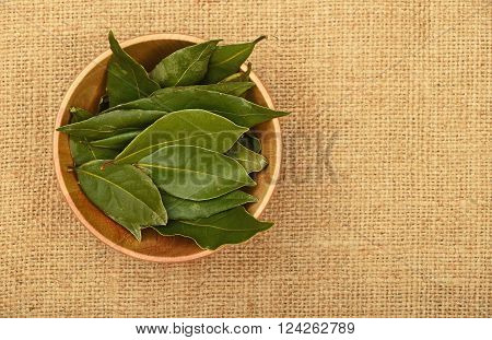 Bowl Of Bay Leaves On Burlap Jute Canvas