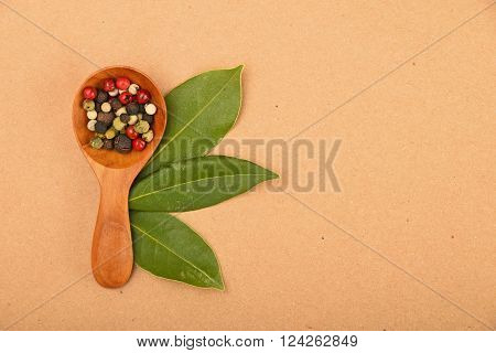 Bay Leaves And Peppercorn Scoop On Kraft Paper