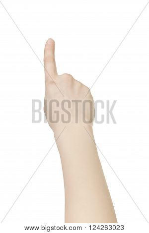 young woman hand touch screen gesture isolated on white background
