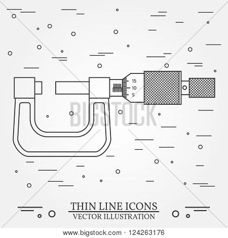 Vector thin line icon micrometer. For web design and application interface also useful for infographics. Vector dark grey. Vector illustration.