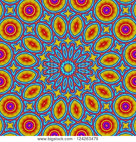 Abstract geometric seamless background. Colorful concentric ornament with elements in bright yellow and red with outlines in turquoise blue. Ornate and conspicuous circle pattern.